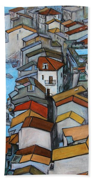Boats In Front Of The Buildings Iv Hand Towel