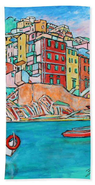 Boats In Front Of The Buildings X Hand Towel