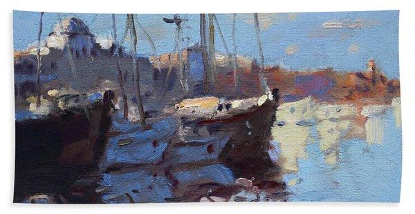 Boats In Mandraki Rhodes Greece  Bath Towel