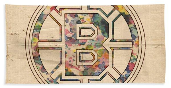 Boston Bruins Poster Art Hand Towel