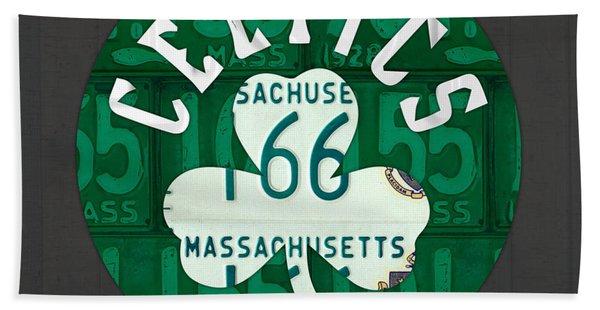 Boston Celtics Basketball Team Retro Logo Vintage Recycled Massachusetts License Plate Art Hand Towel