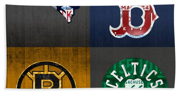 Boston Sports Fan Recycled Vintage Massachusetts License Plate Art Patriots Red Sox Bruins Celtics Hand Towel