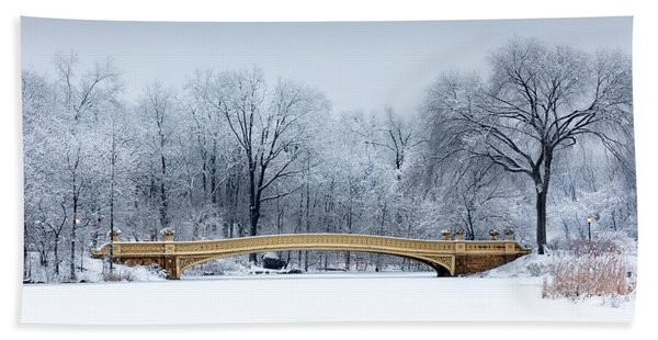Hand Towel featuring the photograph Bow Bridge In Central Park Nyc by Mihai Andritoiu