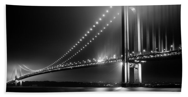 Hand Towel featuring the photograph Bridging Verrazano Narrows by Mihai Andritoiu