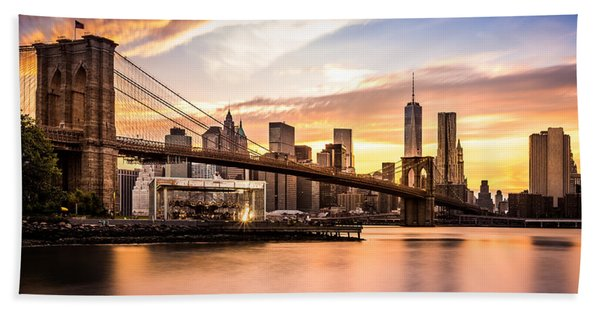 Hand Towel featuring the photograph Brooklyn Bridge At Sunset  by Mihai Andritoiu