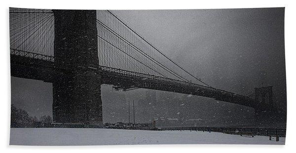 Brooklyn Bridge Blizzard Bath Towel