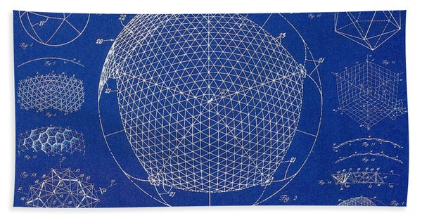 Building Construction Geodesic Dome 1951 Hand Towel