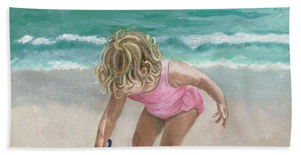 Busy Beach Girl Hand Towel