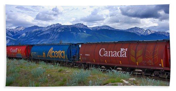 Canadian Freight Train In Jasper #2 Hand Towel
