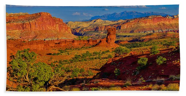 Bath Towel featuring the photograph Capitol Reef Landscape by Greg Norrell