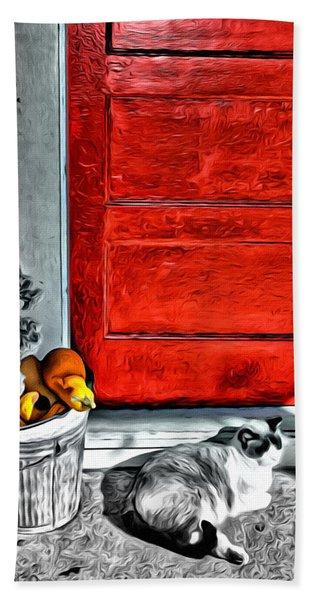 Cat By The Red Door Hand Towel