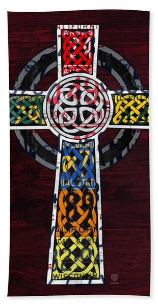 Celtic Cross License Plate Art Recycled Mosaic On Wood Board Hand Towel