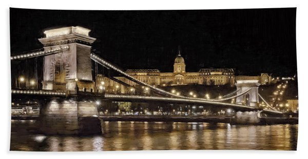 Chain Bridge And Buda Castle Winter Night Painterly Bath Towel