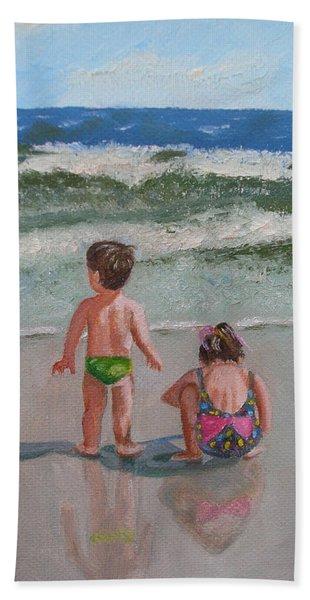 Children On The Beach Hand Towel
