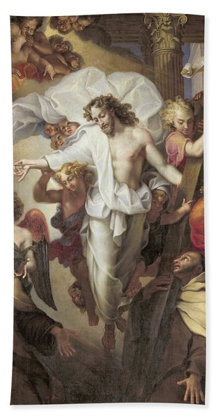 Christ Resurrected Between St Teresa Of Avila Hand Towel