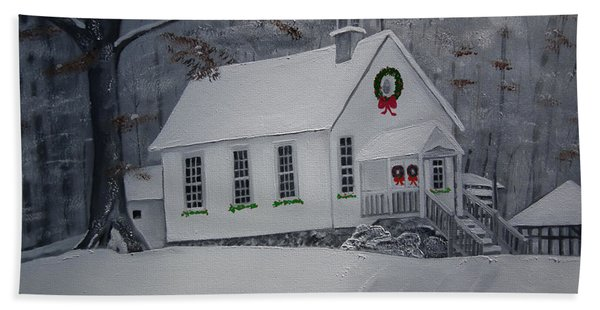 Christmas Card - Snow - Gates Chapel Hand Towel