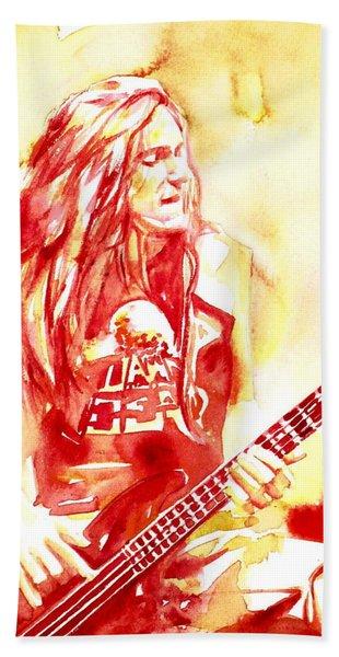 Cliff Burton Playing Bass Guitar Portrait.1 Hand Towel