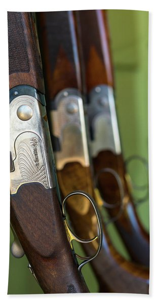 Close-up Of Beretta Shotguns Hand Towel