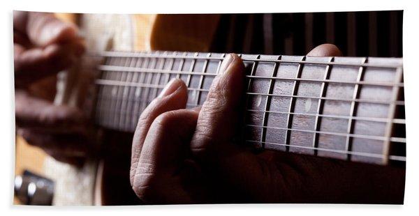 Close Up Shot Of A Man Playing Guitar Hand Towel