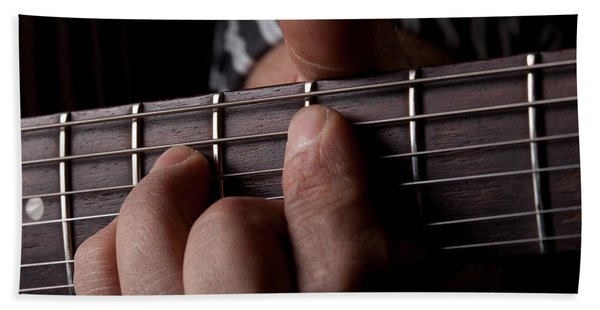 Close Up Shot Of A Mans Left Hand Playing Guitar Hand Towel