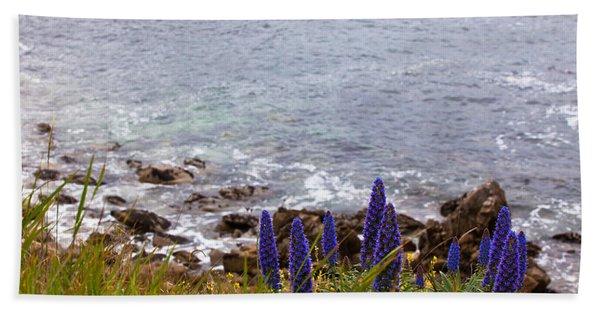 Coastal Cliff Flowers Hand Towel