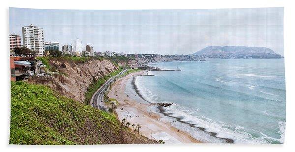 Coastline Of Lima, Peru Hand Towel