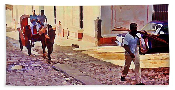 Cobble Stone Streets Of Cuba Hand Towel