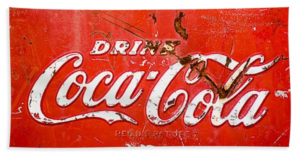 Hand Towel featuring the photograph Coca-cola Sign by Jill Reger