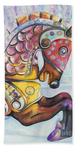 Colorful Carousel Horse  Hand Towel