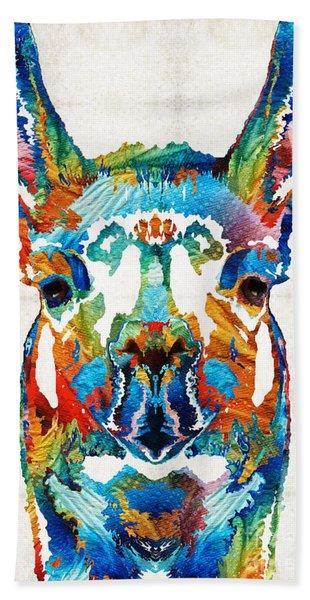 Colorful Llama Art - The Prince - By Sharon Cummings Hand Towel