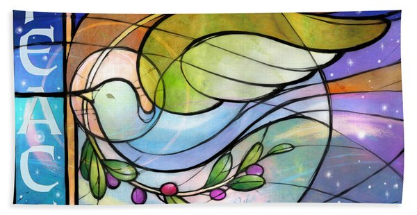 Colorful Peace Dove Hand Towel
