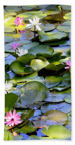 Colorful Water Lily Pond Hand Towel