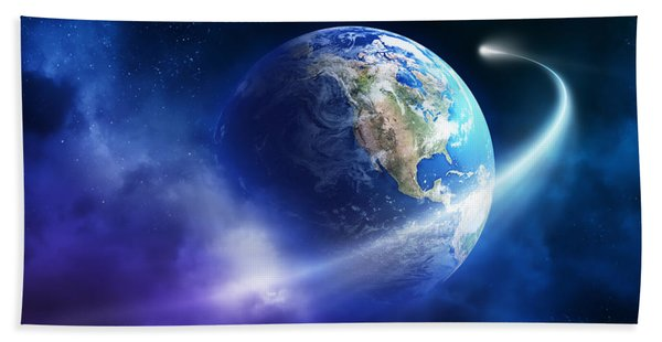 Comet Moving Passing Planet Earth Hand Towel