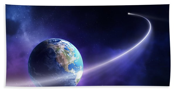 Comet Moving Past Planet Earth Hand Towel