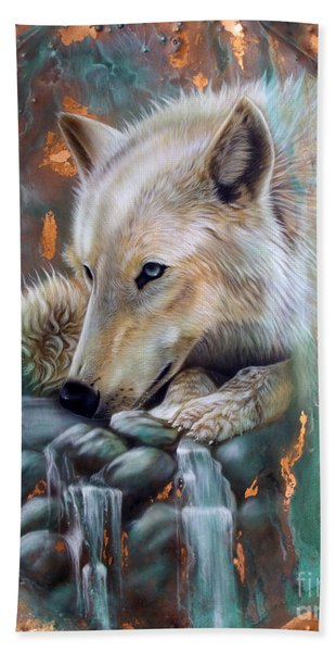 Copper Arctic Wolf Hand Towel