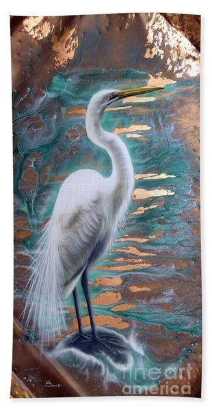 Copper Egret Hand Towel