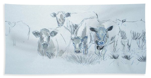 Cow Drawing Bath Towel