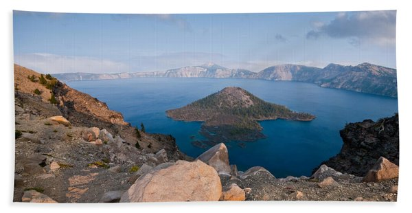 Crater Lake In The Evening Hand Towel
