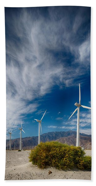 Creosote And Wind Turbines Bath Towel