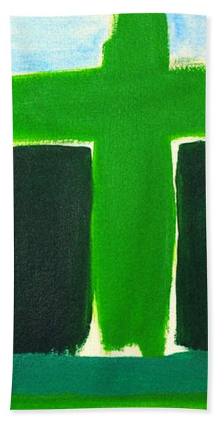 Green Cross On Hill Hand Towel