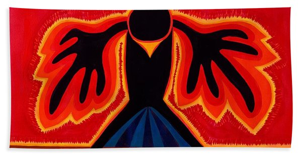 Crow Rising Original Painting Bath Towel
