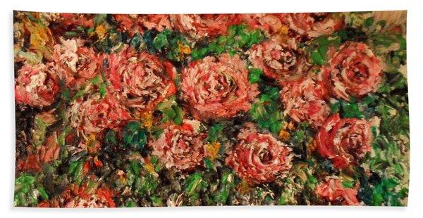 Dancing Red Roses Hand Towel