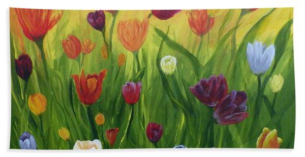 Dancing Tulips Bath Towel