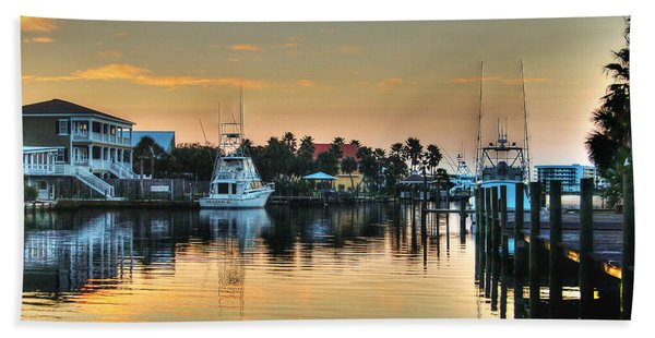 Dawn On A Orange Beach Canal Bath Towel