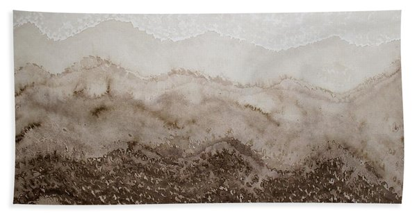 Desert Mountain Mist Original Painting Hand Towel