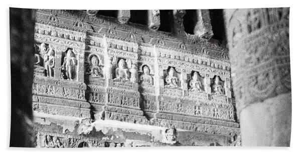 Details Of Carvings In Ajanta Caves Bath Towel