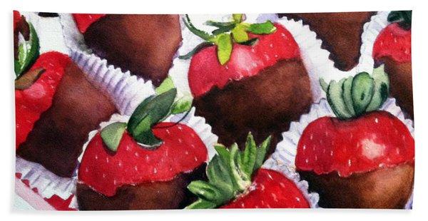 Dipped Strawberries Bath Towel