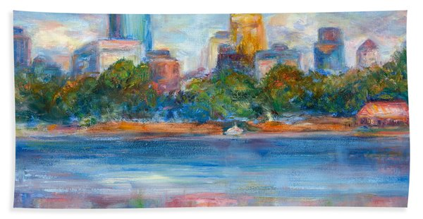 Downtown Minneapolis Skyline From Lake Calhoun II - Or Commission Your City Painting Hand Towel