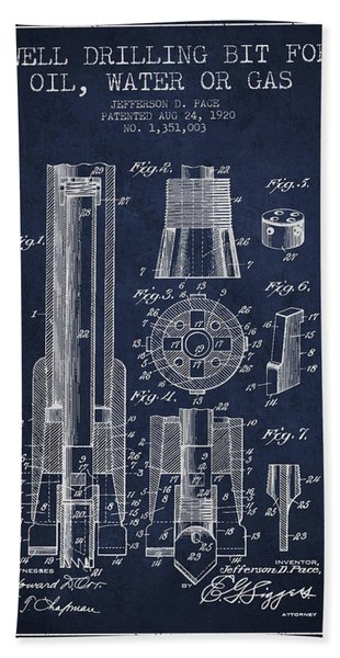 Drilling Bit For Oil Water Gas Patent From 1920 - Navy Blue Bath Towel