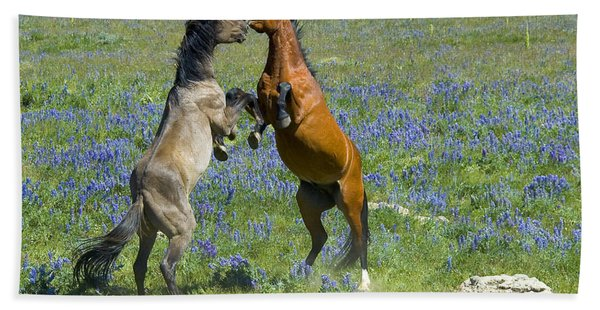 Dueling Mustangs Bath Towel